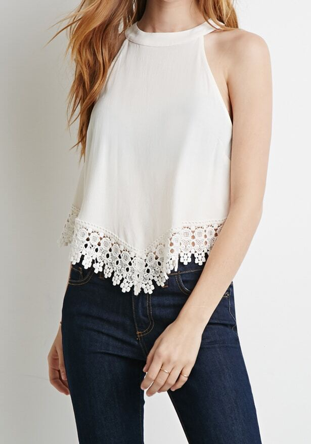White Floral Crochet Trim Crepe Tank Top