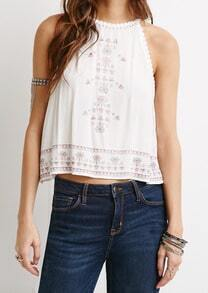 White Lace Trims Embroidered Tank Top