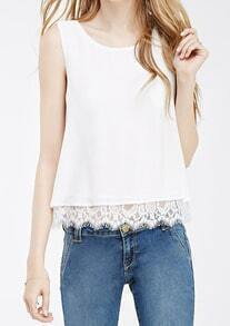 White Round Neck Lace Hem Tank Top