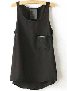 Black Round Neck Pocket Chiffon Tank Top