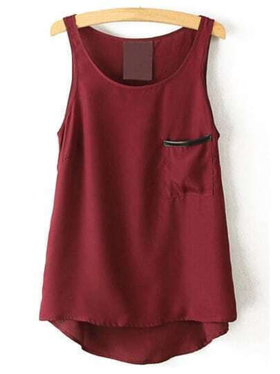 Pocket Chiffon Tank Top