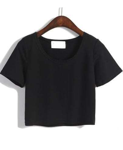 Black Round Neck Short Sleeve Crop T-Shirt