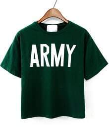 Green Short Sleeve ARMY Print T-Shirt