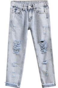 Light Blue Vintage Ripped Denim Pant