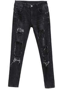 Black Ripped Lace Slim Denim Pant