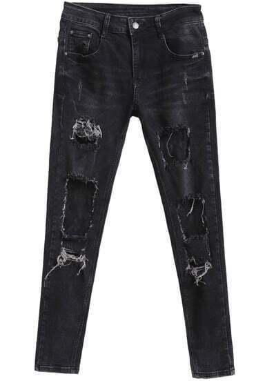 Black Ripped Lace Slim Denim Pant