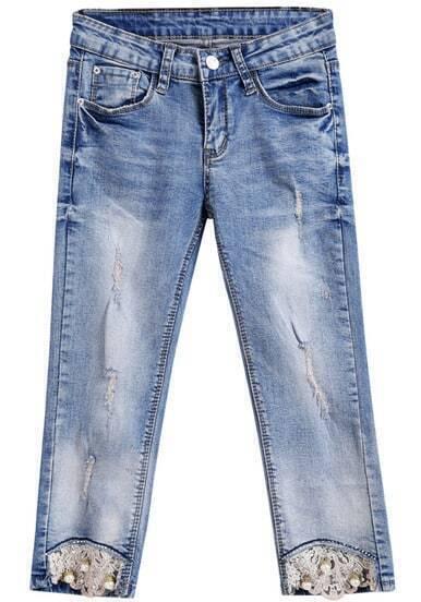 jeans mit perlen und h kelspitze besetzt blau german shein sheinside. Black Bedroom Furniture Sets. Home Design Ideas