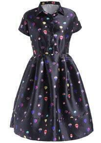 Black Lapel Short Sleeve Balloon Print Dress