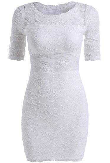 White Lace Short Sleeve Slim Bodycon Dress
