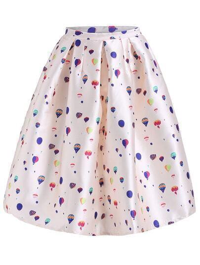 Beige Balloon Print Flare Skirt