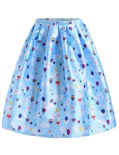 Sky Blue Balloon Print Flare Skirt