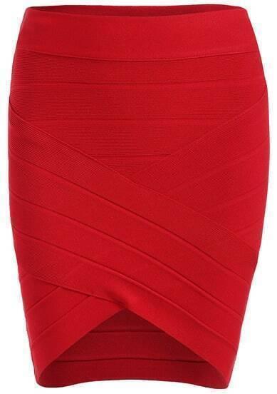 Red Slim Knit Bodycon Skirt