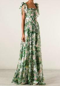 Green Strap Leaves Print Pleated Maxi Dress