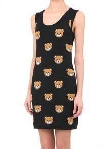 Black Sleeveless Bears Print Tank Dress