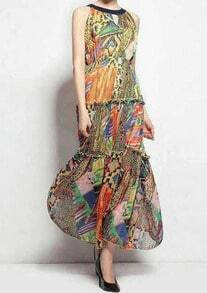 Multicolor Sleeveless Vintage Floral Maxi Dress