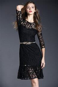 Black Round Neck Lace Ruffle Slim Dress