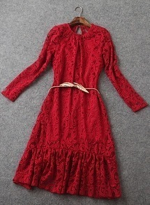 Wine Red Round Neck Lace Ruffle Slim Dress