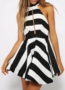 Black White Sleeveless Backless Flare Dress