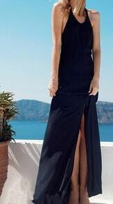 Black Sun Beach Convertible Halter Backless Split Floor Length Dress
