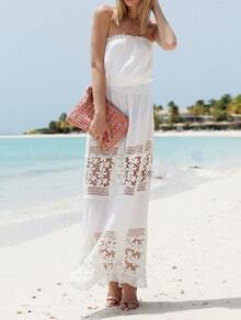 White Strapless Floral Crochet Maxi Dress