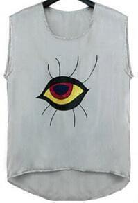 Grey Sleeveless Eye Print Loose T-Shirt