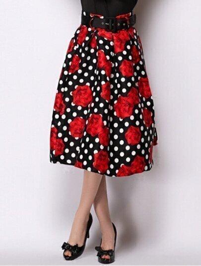 Black Polka Dot Rose Print Skirt