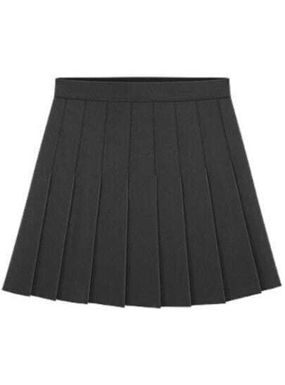 Black Pleated A Line Skirt