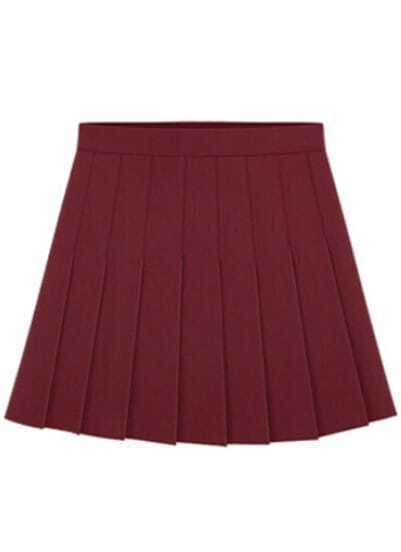 Wine Red Pleated A Line Skirt