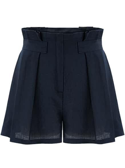 Navy High Waist Loose Shorts