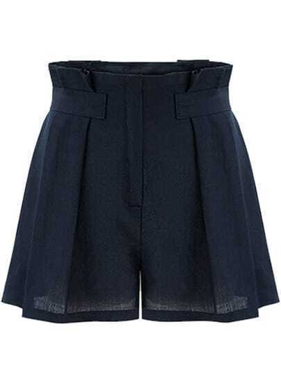 Navy High Waist Loose Shorts