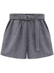 Grey Tie-waist Straight Shorts