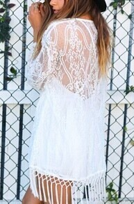 White Long Sleeve Sheer Tassel Lace Blouse
