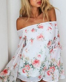 White Boat Neck Floral Bell Sleeve Blouse