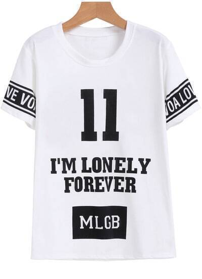 White Short Sleeve 11 Letters Print T-Shirt