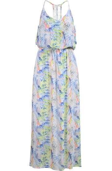 Multicolor Spaghetti Strap Floral Chiffon Maxi Dress