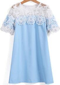 Blue Hollow Lace Short Sleeve Chiffon Dress