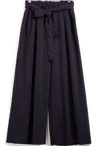 Black Tie-waist Loose Chiffon Pant