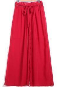 Wine Red Tie-waist Loose Chiffon Pant