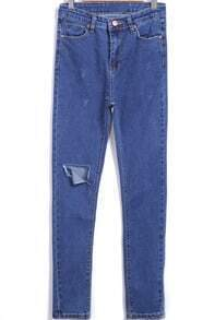 Blue High Waist Ripped Denim Pant