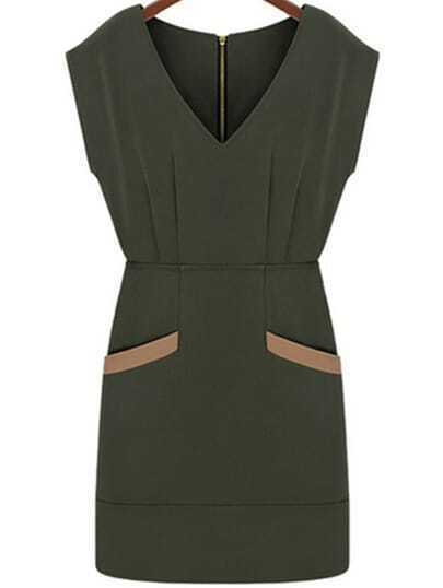 Army Green V Neck Pockets Bodycon Dress