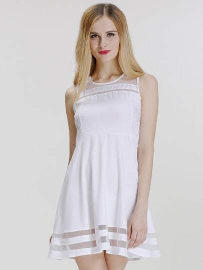 White Sleeveless Sheer Mesh Slim Dress pictures