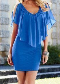 Blue V Neck Off the Shoulder Bodycon Chiffon Dress