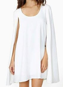 White Round Neck Chiffon Cape Dress