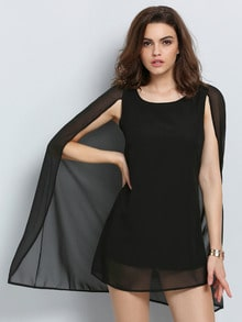 Black Semiformal Round Neck Chiffon Cape Dress