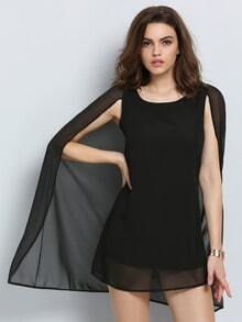 Black Round Neck Chiffon Cape Dress