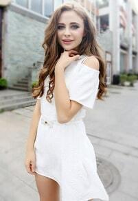 White V Neck Off the Shoulder Jacquard Dress