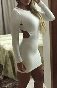 White Hourglass Cross Back Slim Bodycon Dress