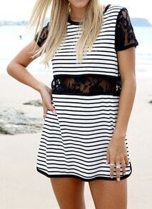 Black White Lace Short Sleeve Striped Dress