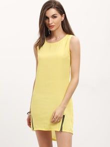Yellow Round Neck Sleeveless Zipper Dress
