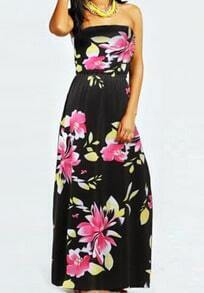 Black Strapless Floral Backless Maxi Dress